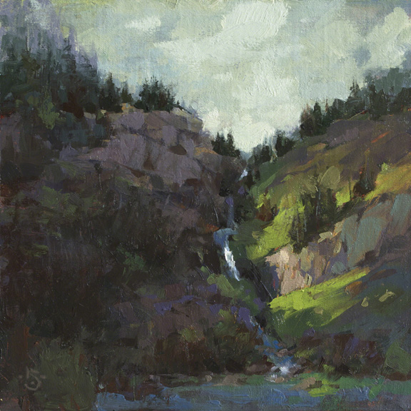 The Watershed 8x8 - oil on linen panel $425