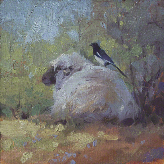The Churro and Friend 6x6 - oil on linen panel -SOLD