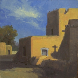 San Francisco de Assisi Mission Church - Taos, NM 12x12 - plein air SOLD