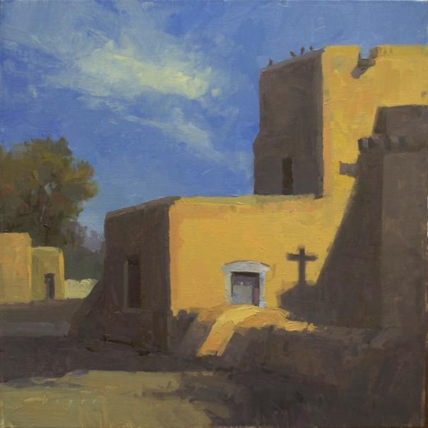 San Francisco de Assisi Mission Church - Taos, NM 12x12 - plein air SOLD