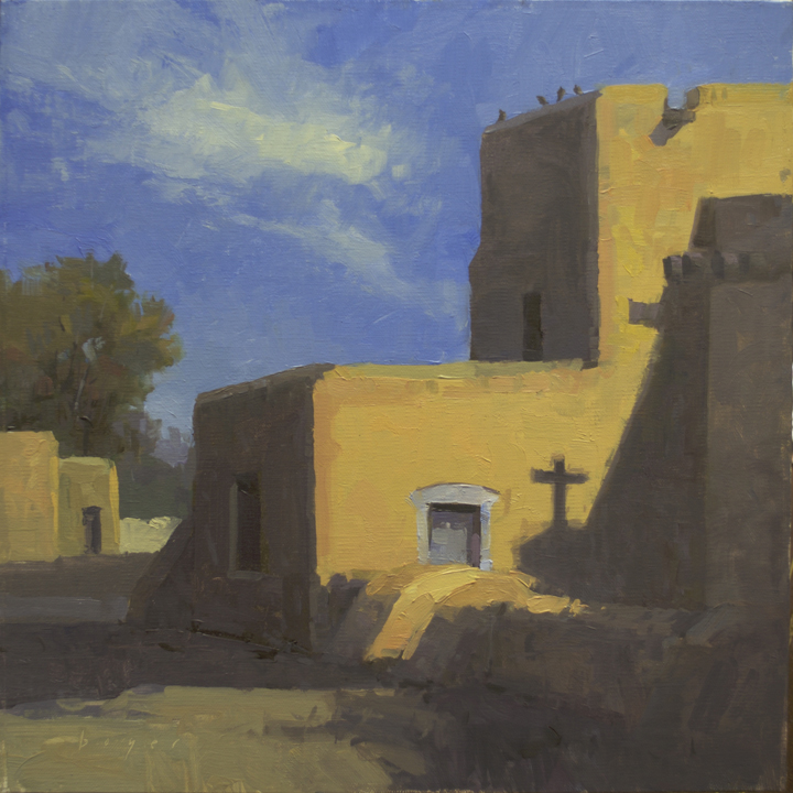 San Francisco de Assisi Mission Church - Taos, NM 10x10 - plein air oil on linen panel 550.00 - unframed