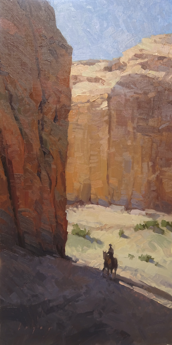 Canyon Rider - Canyon de Chelly, AZ 16x8 - oil on linen panel SOLD