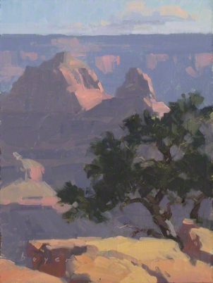 Brahma and Zoroaster Dawn - Grand Canyon, AZ 8x6 - plein air oil on linen panel 575.00