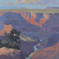 Evening at Desert View - Grand Canyon, AZ 10x10 - plein air oil on linen panel SOLD