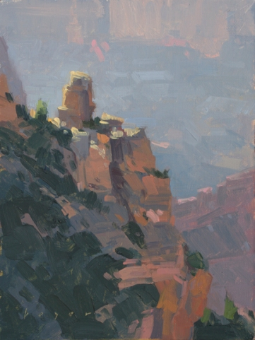 Grandview Sentry - Grand Canyon, AZ 8x6 - plein air oil on linen panel 575.00