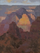 Light from Zoroaster - Grand Canyon, AZ 8x6 - plein air oil on linen panel SOLD