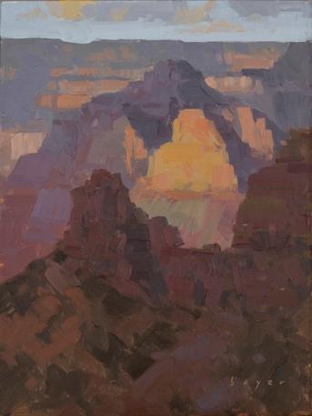 Light from Zoroaster - Grand Canyon, AZ 8x6 - plein air oil on linen panel SOLD