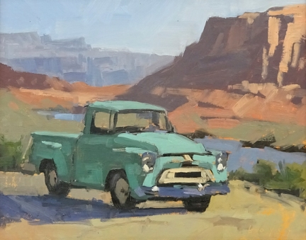 The International - Moab, UT 8x10 - plein air oil on linen panel SOLD - Collection Castle Creek Winery