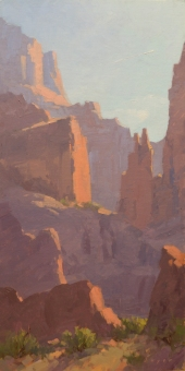 Thirty Thousand Feet, Fisher Towers, Moab, UT 8x16 - plein air oil on linen panel Sorrel Sky Gallery