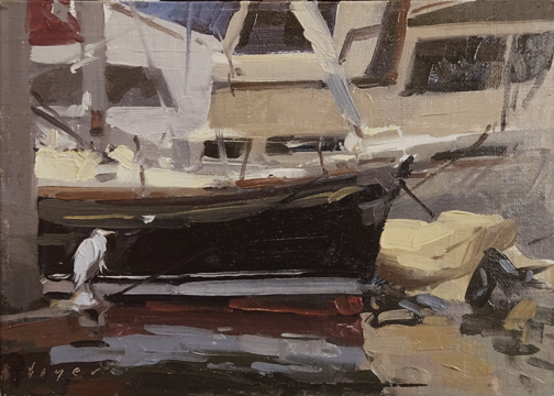 Marina Heron - San Diego, CA 5x7 - plein air oil on linen panel425.00