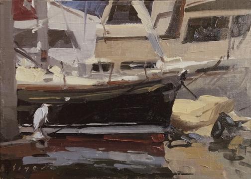 Lyn Boyer Studio Gallery Plein Air Convention San Diego 'Marina Heron' 5x7 plein air oil on linen panel525.00