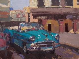 Sorrel Sky Gallery Santa Fe Plein Air Fiesta 'Havana Blues' 9x12 plein air oil on linen panel SOLD