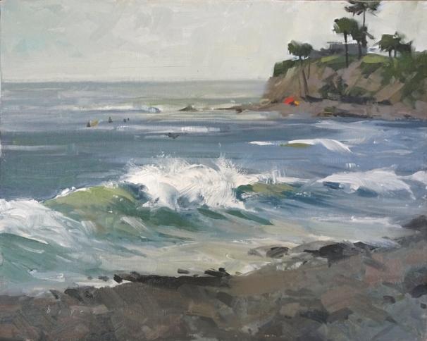 Sorrel Sky Gallery 'Tourmaline Surf Park' San Diego, CA 8x10 plein air oil on linen panel SOLD