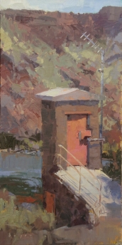 The Gaging StationSOLDBest of Show - Santa Fe Plein Air Fiesta 16x8 - plein air oil on linen panelSOLD - SORREL SKY GALLERY