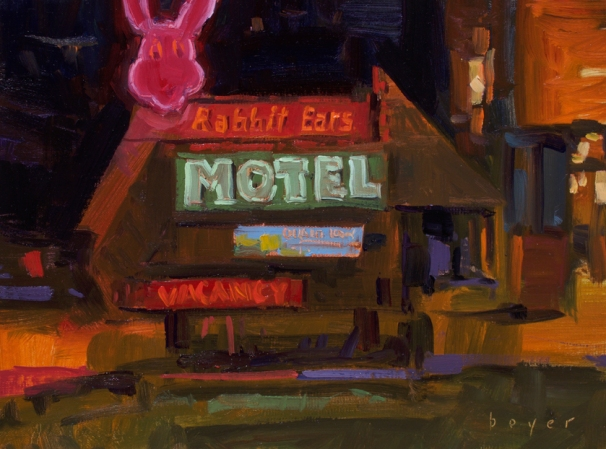 Sorrel Sky Gallery PAPNM National Exhibition First Place Nocturne 'Rabbit Ears Motel' 9x12 plein air oil on linen panel SOLD