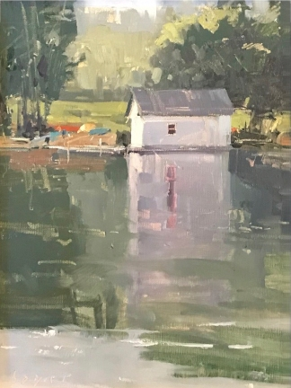 Honorable Mention - Paint Grand Traverse Quick Draw Baker's Boathouse12x9- plein air oil on linen panel SOLD - CROOKED TREE ARTS CENTER
