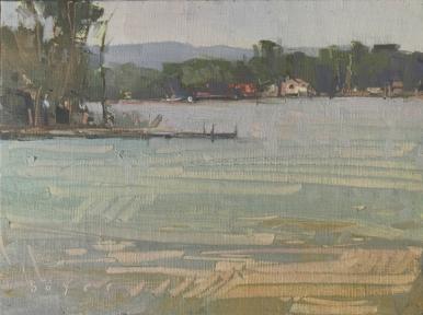 Quiet Loon6x8- plein air oil on linen panel 575.00 Authentique Gallery of Fine Art