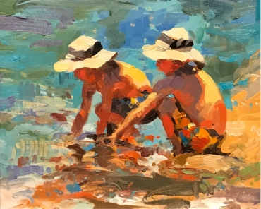 Authentique Gallery New Visions Art Show 'The Froggers'8x10 oil on linen panel SOLD