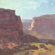 Mary Williams Gallery Boulder, Colorado 'Devil's Canyon'8x8 plein air oil on linen panel 750.00