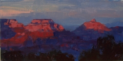 Grand CanyonCelebration of Art 'Night Blush'8x16 plein air oil on linen panel SOLD